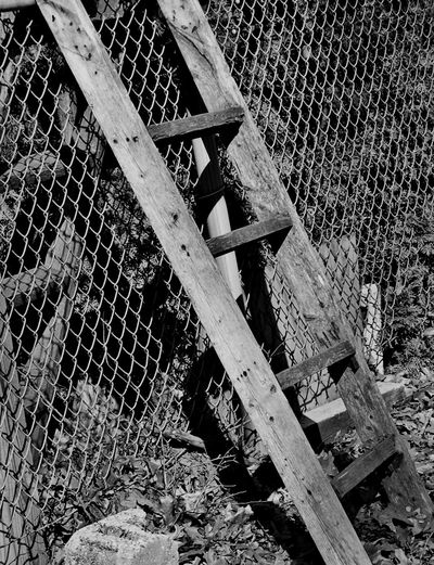 Black And White Black & White Black And White Photography Wood Grain Ladder Wooden Ladder Fencing Textures And Surfaces Concrete Blocks