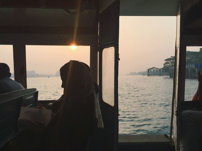 Boatride Shillouette Morning Sun Reading A Book Reading Passenger Kerala