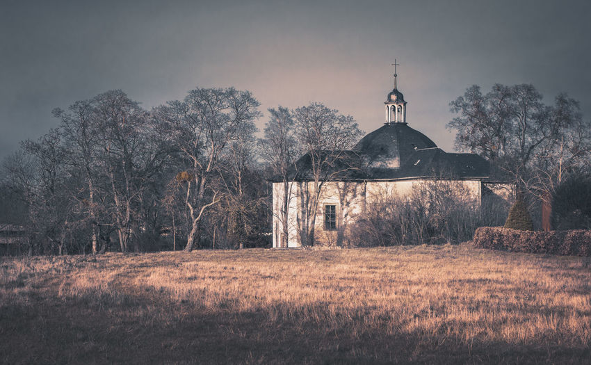The cross chapel Jakobskapelle Kapelle Chapel Church Abandoned Places Abandoned Built Structure Architecture Tree Building Exterior Religion Plant Spirituality Belief Nature Place Of Worship Land Building History Sky No People The Past Field Dome Outdoors