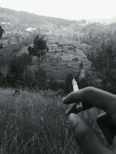 Lighting away life Black And White Ciggarette Human Hand Human Body Part One Person Nature Hills And Valleys Be. Ready. Go Higher