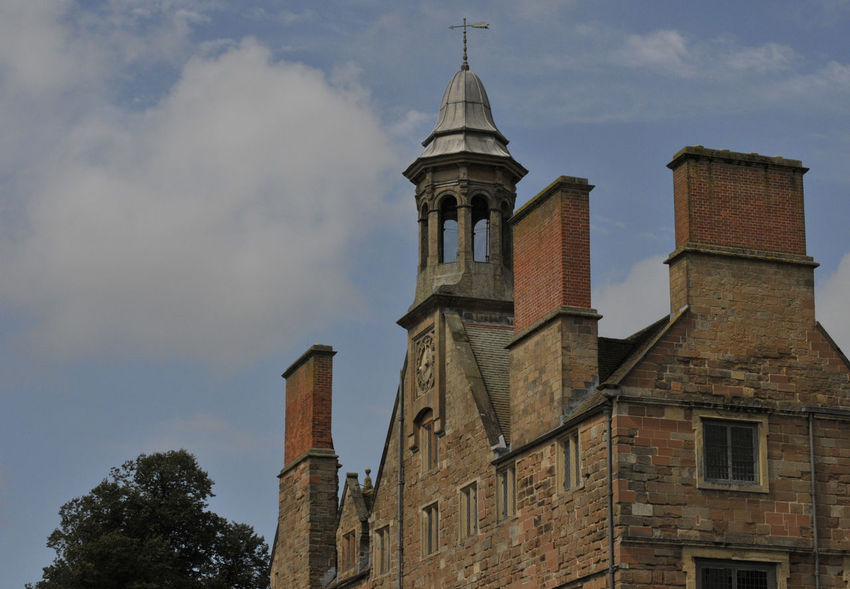 Part of the Rufford Abbey ruins in Nottinghamshire, showing the clock tower. Abbey Ruins Architecture Building Building Exterior Built Structure Clock Cloud - Sky Day History Low Angle View No People Outdoors Place Of Worship Religion Sky Spire  Tall - High The Past Tower
