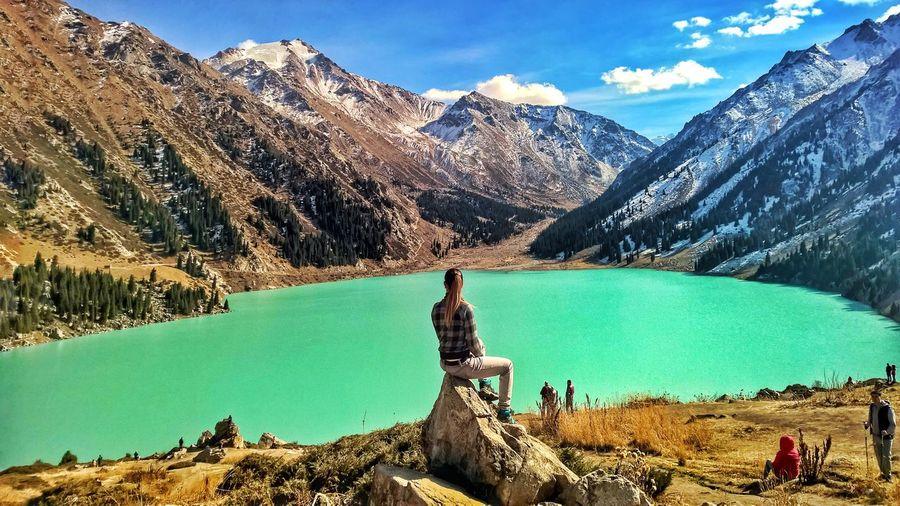 #kazakhstan #Almaty #girl #alone Mountain Water Statue Tree Snow Human Representation Sky Mountain Range Rocky Mountains Female Likeness Mountain Peak