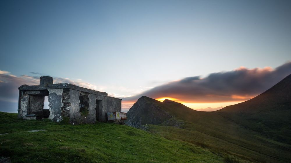 Burning summit. This is a long time exposure at Ireland, achill island keem bay. Beautiful and steep walk for the sunset. Was totally worth it. Sky Mountain Outdoor Hut walking Sunset Nd Grass HDR