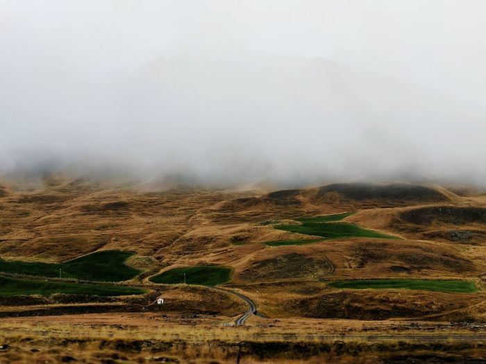 Road Trip Ring Road Northern Iceland North Region Iceland Icelandic Landscape Mountains And Fog Road Remote Tree Sky Foggy Physical Geography Rugged Countryside Mountain Road Majestic