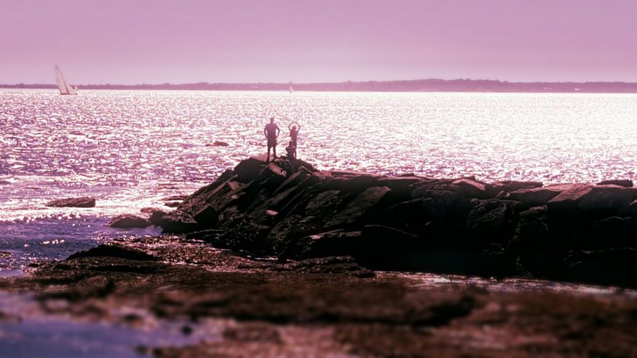 Break-water. By The Ocean On The Jetty Sea Distant View Sillouettes Tranquil Scene S6 Beauty In Nature Rhode Island Ocean State EyeEm Gallery Eyeemphotography EyeEm Rhode Island Photography⚓ Newport, RI Newport Series Color Palatte Tilt-shift