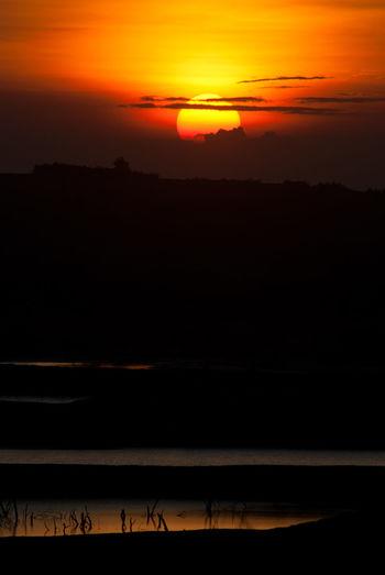Scenic view of silhouette landscape against orange sky
