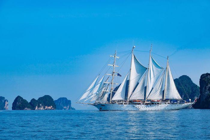 Star clipper in Phuket , Thailand Ovean Krabi Thailand Phuket Clipper Star Nautical Vessel Transportation Mode Of Transport Sailboat Sea Mast Water Blue Boat Sailing Sky Nature Outdoors Day Ship Moored No People Yacht Travel Destinations Sailing Ship