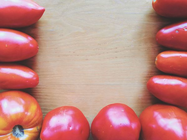 Red Healthy Lifestyle Fruit Directly Above Table Tomato Close-up Food And Drink