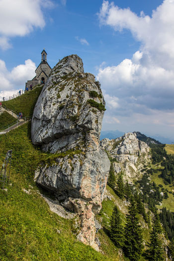 Church at Wendelstein, Bavarian Alps Alpen Church EyeEmNewHere Grass Panorama Rock Rock Formation Alps Bavarian Alps Beauty In Nature Cliff Cloud - Sky Fir Landscape Mountain Nature No People Outdoors Religion Rock - Object Rocks Scenics Sky Tranquility Travel Destinations