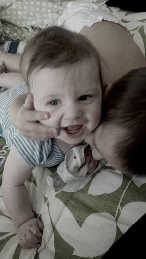 loves of my life, these 2 are wrestling already! CC Enjoying Motherhood Brosforlife Family Matters