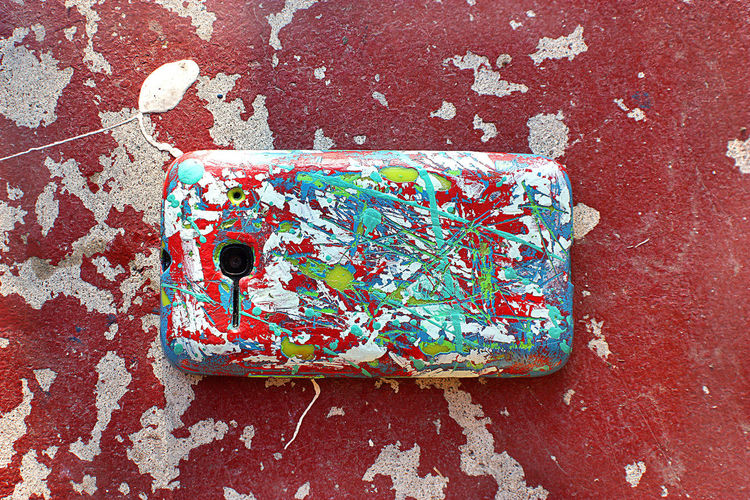 A Camoflauge Cell Phone  Creative Handmade Jackson Pollock Paint Phone Splatter Paint