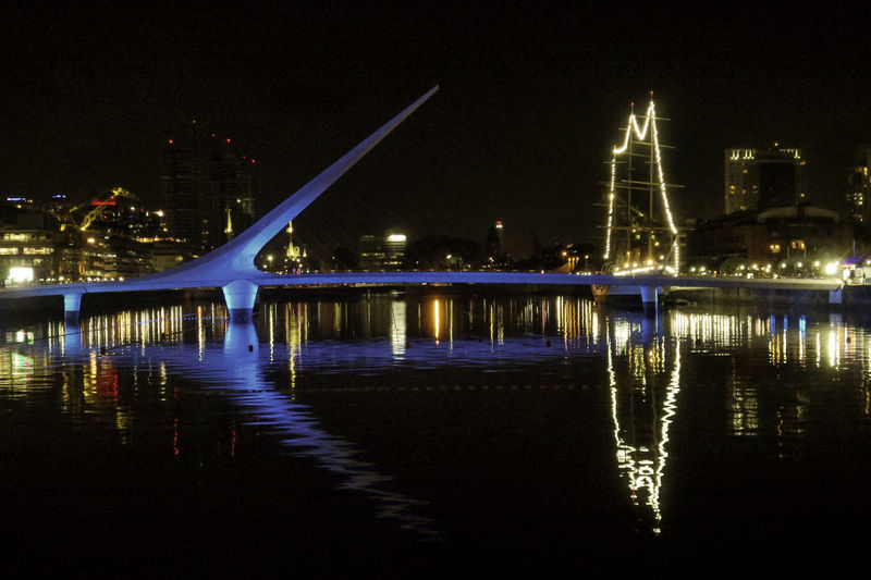 Puerto Madero Buenosaires Night Water Illuminated Reflection Built Structure Architecture Building Exterior Sky Waterfront Nature River No People City Bridge Bridge - Man Made Structure Travel Destinations Connection Transportation Travel Outdoors