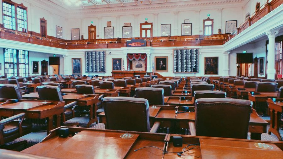 Texas State Capitol: House of Representatives. Chair Education Seat Indoors  University Architecture Large Group Of Objects Auditorium No People Bookshelf Library Courtroom Day Texas State Capitol House Representative Austin Downtown Adventure Historic Travel View Life