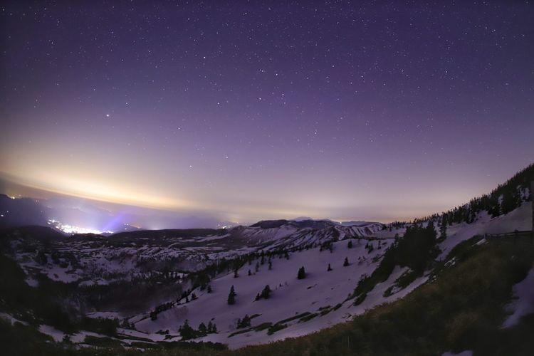 華やかな草津の町😀温泉の匂いが何故かした♨😆 Landscape 銀河鉄道の夜♪ 一目惚れんず Astronomy Milky Way Star - Space Galaxy Mountain Star Trail Snow Space Winter Tree
