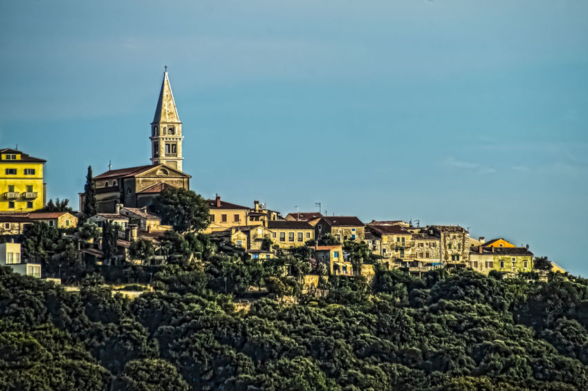 Architecture ArtWork Background Blue Sky Church City Croatia HDR Hill Historical Historical Building Houses No People Outdoors Vrsar