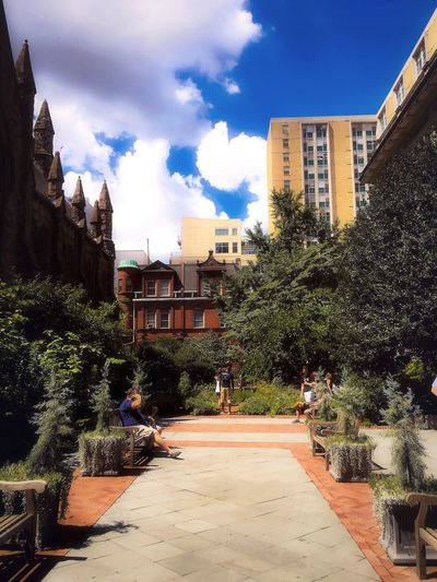 Perusing the healing plants and herbs of days gone by. Adapted To The City Building Exterior Architecture Taking Photos Walking Around Cloud - Sky Outdoors Philadelphia City Garden Built Structure Enclosed Urban Gardening Urban Escape Growth Afternoon Blue Sky Plant Through My Eyes