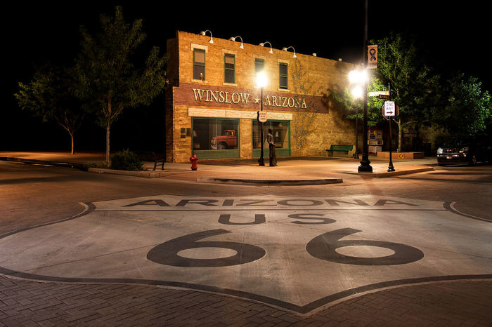 """The Corner"" in Winslow, Arizona Architecture Arizona Icon Lights Marker Night Lights Night Photography Nightphotography Road Route 66 Sign Standin' On The Corner Park Architecture Building Exterior Built Structure Corner Eagles Famous Place Illuminated Night Nightlife No People Park The Corner Winslow"