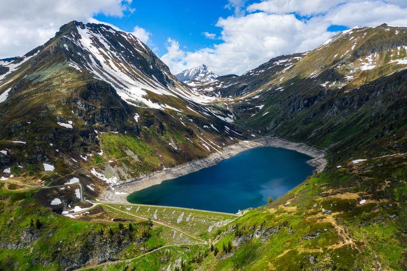 Aerial image of alpine landscape with lake, sportgastein, salzburg, austria
