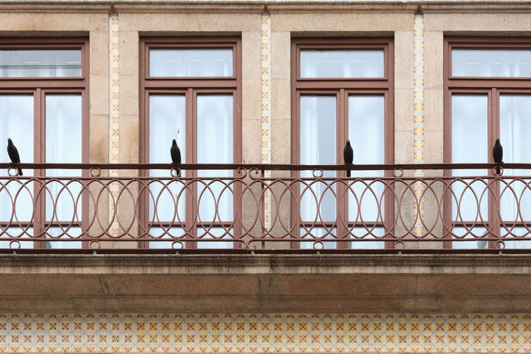 A balcony of a residential building