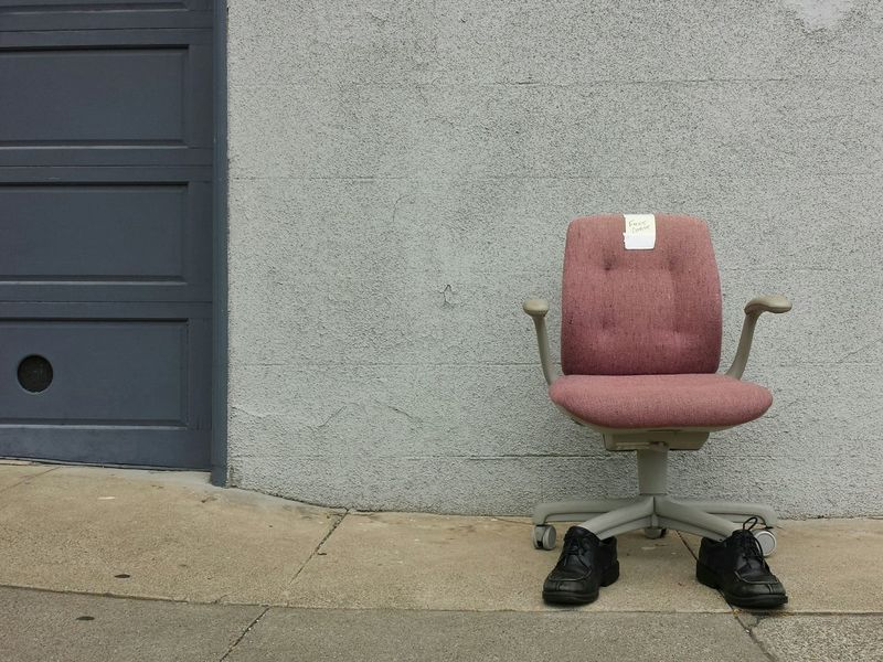 oh the things you find on the streets of san francisco. San Francisco Street Photography Free Chair with Shoes Church Street Noe Valley Free Stuff Office Chair
