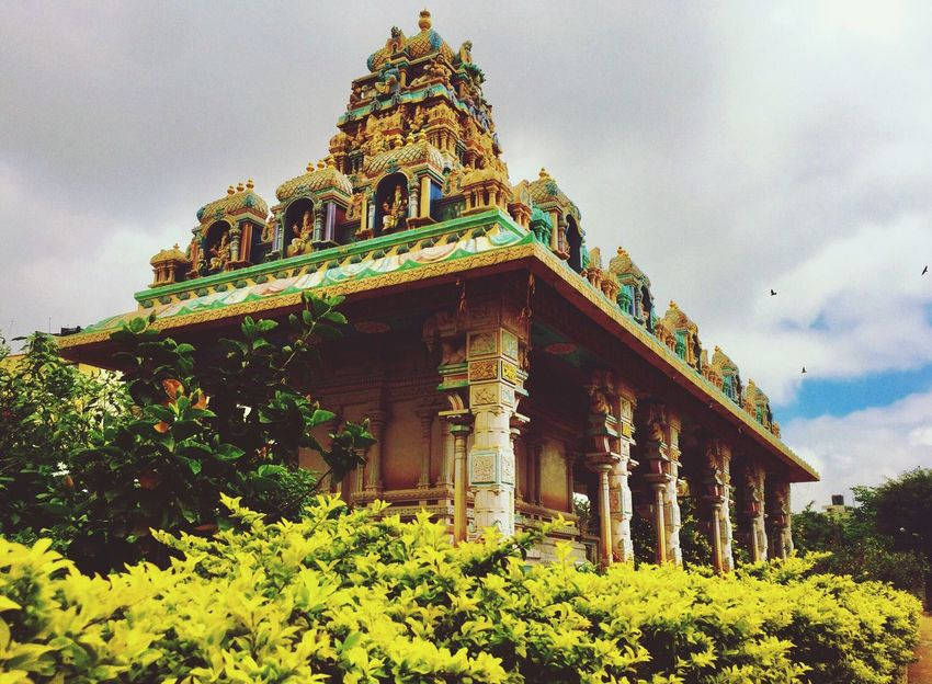 Bangalore South Indian Temple Architecture Colorful Spirituality Place Of Worship Religion Overcast IPhoneography