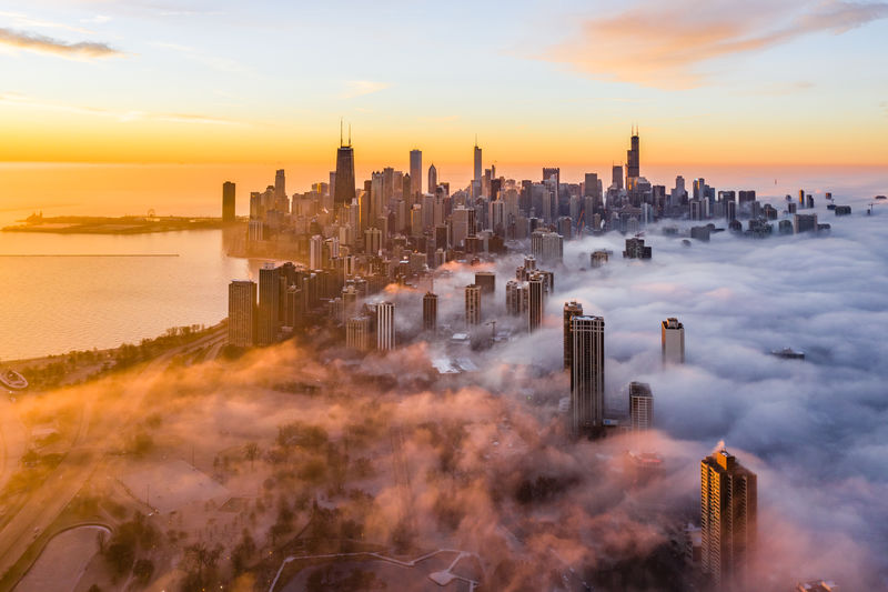 Foggy Morning in the Chi Sky Sunset Architecture Cityscape City Urban Skyline Cloud - Sky Landscape No People Skyscraper Built Structure Building Exterior Modern Financial District  Office Building Exterior Foggy Fog Foggy Morning Chicago Chicago Architecture Chicago Skyline Chicago ♥ Sunrise Travel Destinations