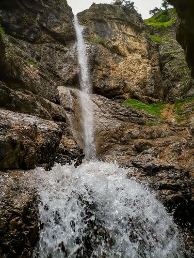 Water flowing through rocks