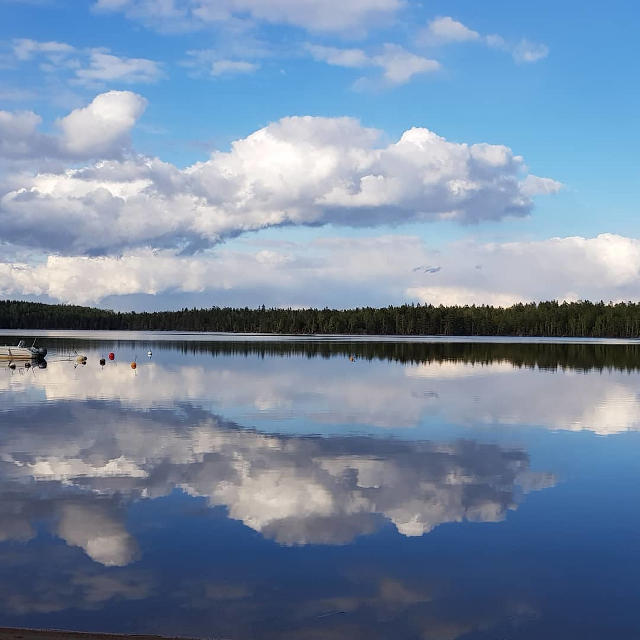 cloud - sky, sky, reflection, tranquility, scenics - nature, water, beauty in nature, lake, tranquil scene, nature, waterfront, symmetry, no people, idyllic, day, non-urban scene, outdoors, blue, plant, reflection lake