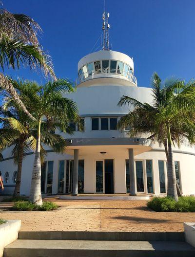 Cuba Cuba 2015 Marina Building Blue Sky Palm Trees Varadero