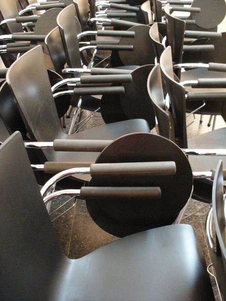 Black Chair Day Education Indoors  Large Group Of Objects Learning No People School Seat Stacked Chairs