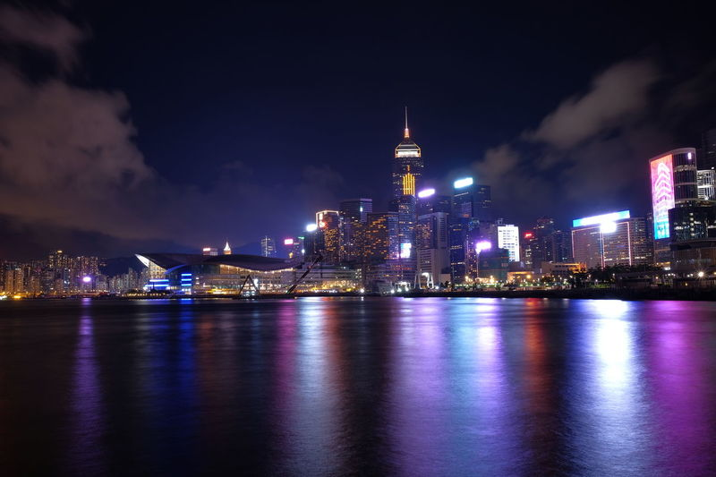 Best Night View Central Financial District  Hong Kong Nightphotography Reflection Victoria Harbour Architecture Building Exterior Built Structure Central Pier City Cityscape Fujifilm Homelover Hong Kong Island Illuminated Long Exposure Night Sky Skyscraper Summer Travel Destinations