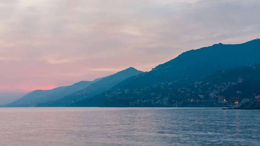 Sunset in Liguria Cloud - Sky Mountain Mountain Range Nature No People Outdoors Scenics Sea Sky Sunset Tranquil Scene Tranquility Water Waterfront Italy 🇮🇹