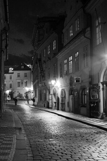 Coming back from Kafka Architecture B&w Street Photography Empedrado Loneliness Night Paved Praga Prague Czech Republic Street