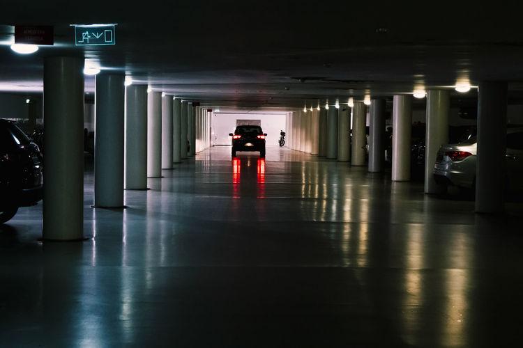 Car garage parking illuminated  building night