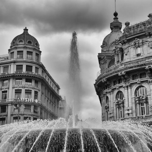 Genova Città Di Mare City Genova Travel Destinations Architecture Fountain Spraying Built Structure Building Exterior Sky Motion Cloud - Sky Water Travel Destinations Day Dome Outdoors