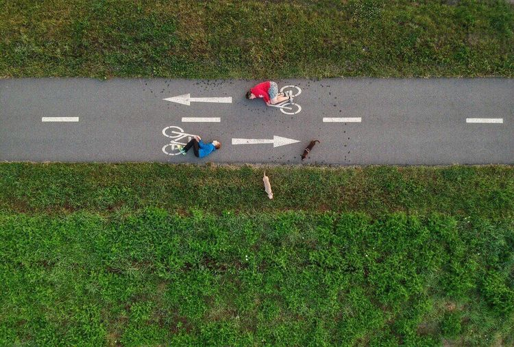 Kulhy Photography Dronephotography Djiglobal Spark Grass Czech Republic Rakovník Poeple Bike Dog Dogs Of EyeEm Landscape High Angle View EyeEm Best Shots Eyeem Market