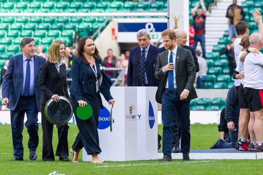 Army v Navy and HRH Prince Harry give the trophy to the winners the Army at Twickenham People ArmyVsNavy Twickenham Rugby Canonphotography Sports Photography