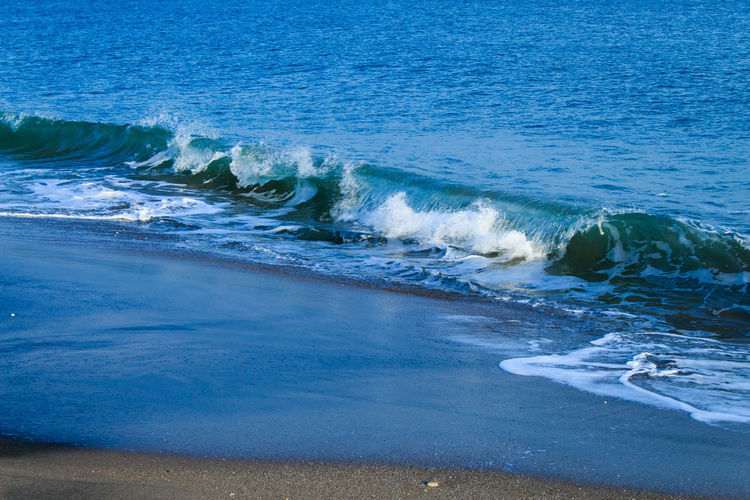 Waves on sandy beach Water Sea Motion Wave Beauty In Nature Land Aquatic Sport Beach Surfing Sport Nature Day Scenics - Nature Outdoors Blue Rushing High Angle View Power In Nature Wave Seaside View Of The Sea Waves Washing The Beach Beach View Blue Tones Burgas, Bulgaria