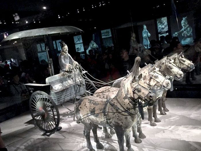 Ancient Artifact Burial Chariot Chinese City City Life Funeral History Horse Illuminated Lifestyles Night Outdoors Terra-cotta Tourism Travel Destinations Warrior