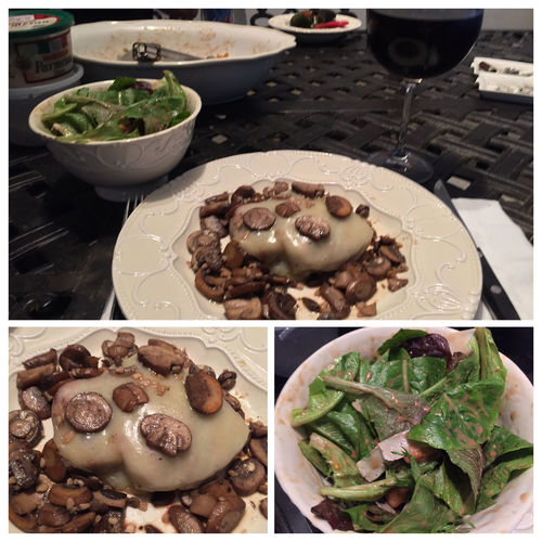 Grilled filet mignons, topped with mozzarella cheese, then covered with sautéed mushrooms. Served with a great salad and my homemade 2012 Italian Amarone wine. ICanCookMyAssOff ItsAnItalianThing Nomnombomb MyFoodPics TheExpensiveWinos Grilling LaDolceVita
