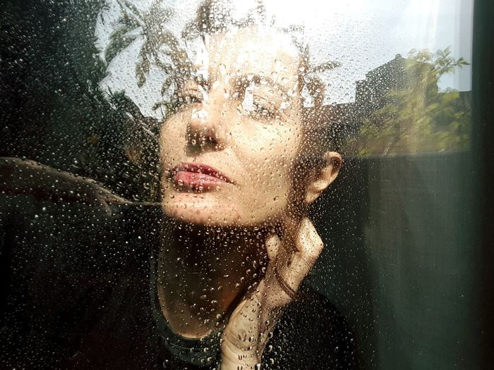 Beautiful Woman Water Portrait Young Women Human Face Looking At Camera Window Looking Through Window Headshot Front View Condensation RainDrop Wet Rain Splashing Droplet Transparent Frosted Glass Water Drop Rainy Season Windshield