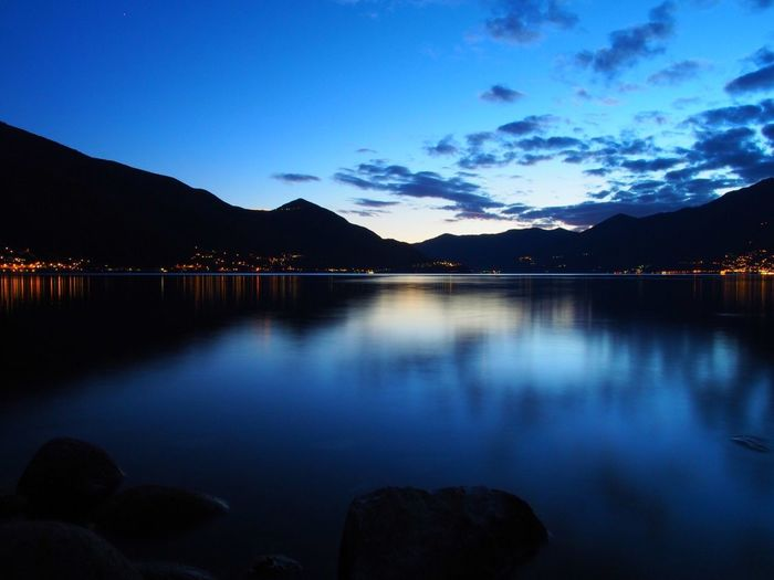 Water Reflection Beauty In Nature Blue Nature Scenics Sky Mountain Tranquil Scene Tranquility No People Lake Outdoors Night