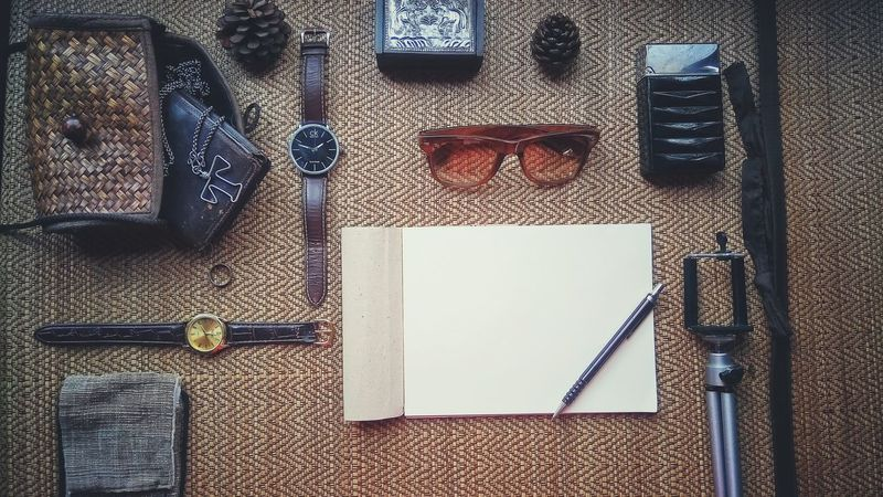 Indoors  Close-up Day Travel Destinations Travel Photography Paper View Note Pencil Glasess Purse Mats  Old Brown Tones Swachtes Vintage Filtereffect