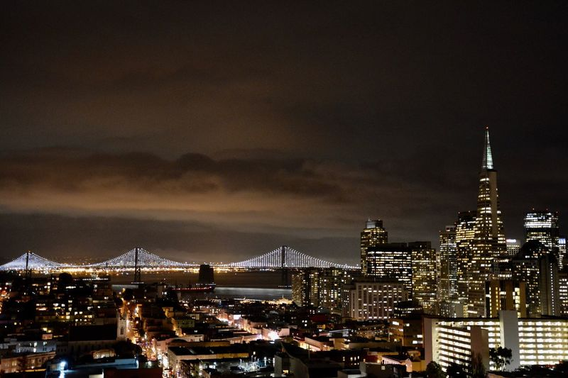 Skyline of San Francisco by night. Illuminated City Night Skyscraper Skyline San Francisco Bay Bridge First Eyeem Photo