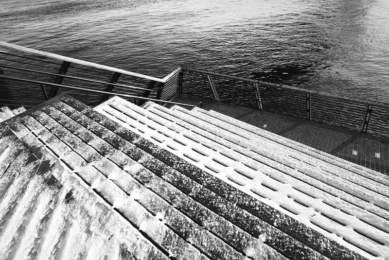 High Angle View Water Railing Day No People Outdoors Nature Boat Deck City Philadelphia Pennsylvania Philly Philadelphia Balanced Built Structure Lines BlackAnd White Nature Benjamin Franklin Bridge  RaceStreetPier