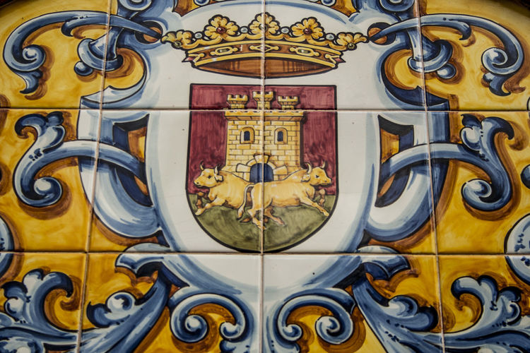 Architectural Feature Art Backgrounds Ceramic Ceramic Art Ceramic Tiles City Coat Of Arms Talavera Close-up Day Design Directly Below España Full Frame Geometric Shape No People Orange Color Ornate Talavera De La Reina Toledo Toledo Spain Yellow