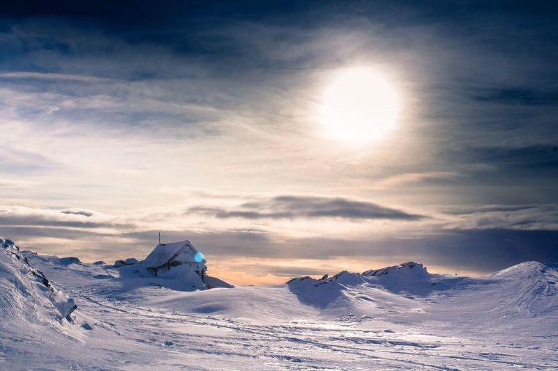 Snow Winter Cold Temperature Scenics - Nature Sky Beauty In Nature Cloud - Sky Tranquil Scene Mountain Sunlight Landscape Tranquility Mountain Range Environment Frozen Snowcapped Mountain Nature Non-urban Scene Sun No People