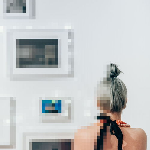 Pixelated woman at home