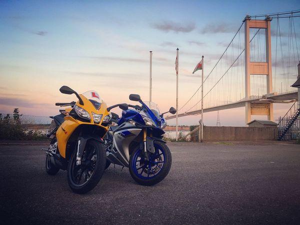 Two Is Better Than One Two SuperSport 125cc Motorbikes... At A Bridge! Aprilia Yamaha Riversevern Bridge 125cc