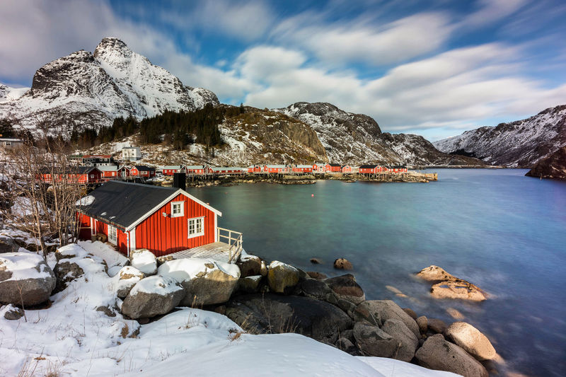 Morning in Nusfjord Norway Winter Beauty In Nature Clouds Day Landscape Lofoten Long Exposure Nusfjord Red House Snow